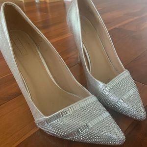 Silver aldo heels size 7